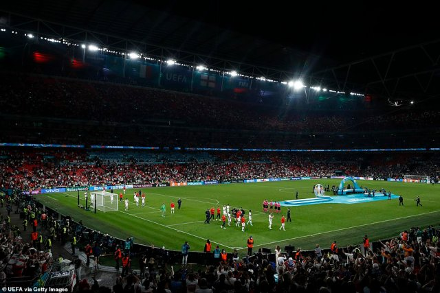 A general view inside Wembley Stadium last night as players of England applaud the fans