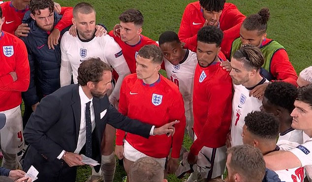 Southgate went through his plan with his players in a huddle moments before the shootout began, and at one point it appeared that he asked Grealish whether he would be willing to take a penalty, and Grealish nodded in reply