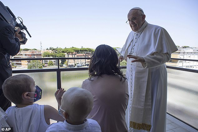 He stood for 10 minutes greeting well-wishers at noon on what would have been the hour when he traditionally appears from a window at the Vatican overlooking St Peter's Square