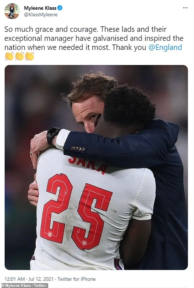 Supportive: The mother-of-three took to Twitter on Sunday night to show her support to the England squad following their defeat to Italy in the Euros final
