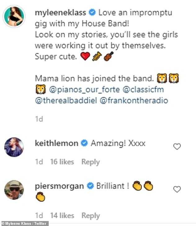 House Band: The music mamadelighted her 385,000 followers over the weekend when she shared a video of her and her daughters Ava, 12 and Hero, nine, performing their very own rendition of Three Lions