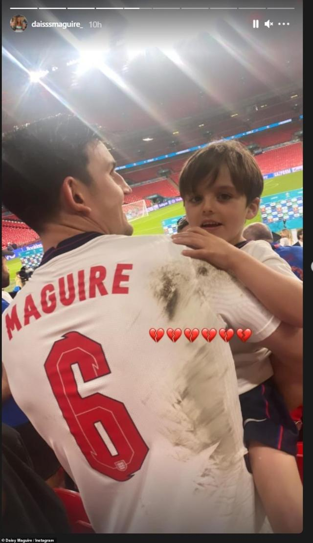Daisy also shared this snap of Harry after the game with their nephew, she added three broken heart emojis to show sadness at the loss