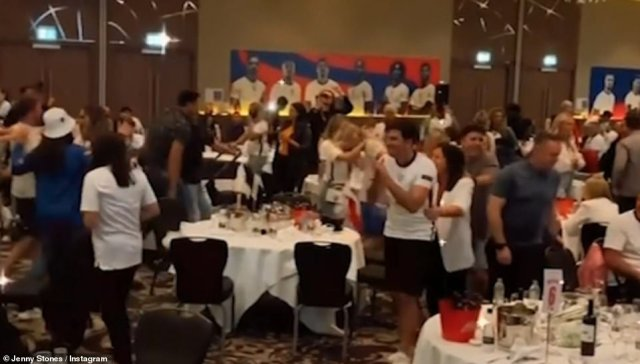 Despite a crushing defeat, Maguire - who scored twice in the tournament - lead a conga line of players and family to The White Stripes anthem Seven Nation Army, while John Stones' sister Jenny shared a touching clip of the players entering the room to rounds of applause and cheers from loved ones.