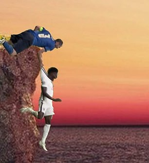 Here he saves Saka from falling off a cliff