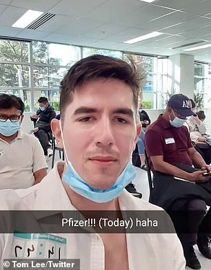 Sydneysider Tom Lees (pictured) had his fourth Covid vaccine shot on Monday afternoon after doubling up on both Pfizer and AstraZeneca jabs despite only being 34.