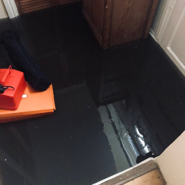 Flooding inside a building today during the torrential downpours in the south of the country