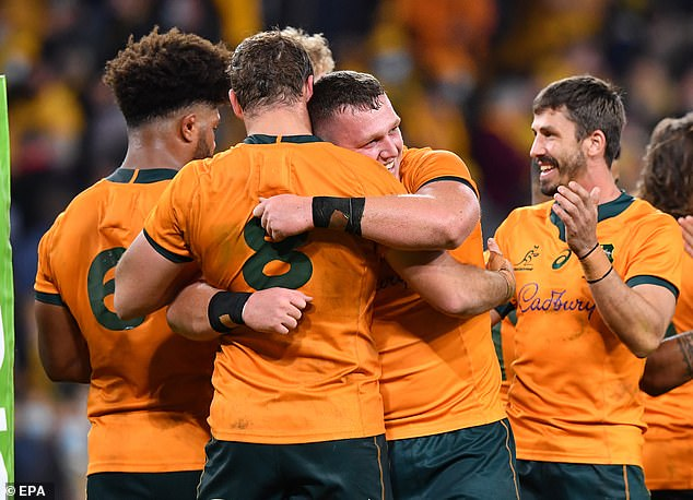 The alleged border hoppers from Sydney travelled to Queensland to watch the Australian Wallabies (pictured) come from behind to defeat France in Brisbane last Wednesday