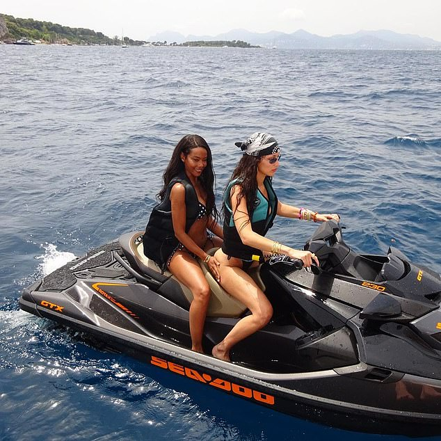 Besties: While sharing a jet ski with her best friend Fanny Bourdette-Donon, Hadid slipped into a life vest and covered her damp tresses under a head scarf