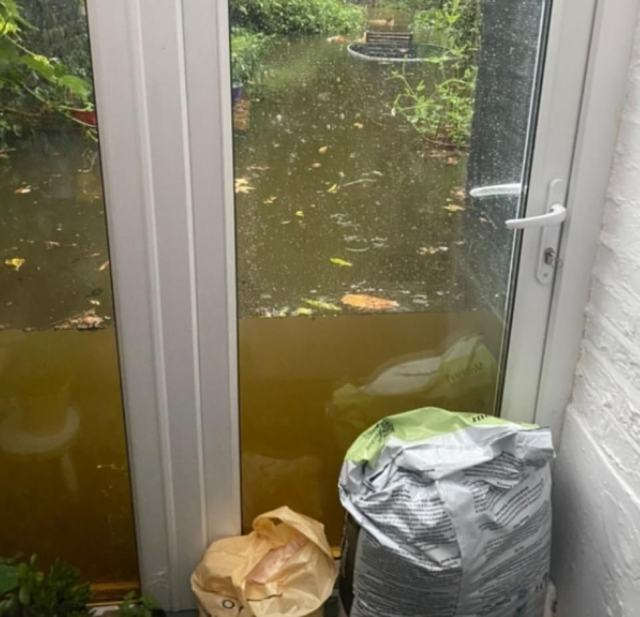 This home in Maida Vale and its glass door showed exactly how much water had fallen in the capital yesterday evening
