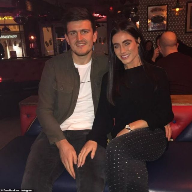 Harry Maguire has been engaged to Fern since February 17, 2018, after her asked her to marry him on a romantic getaway in Paris (pictured together in June)