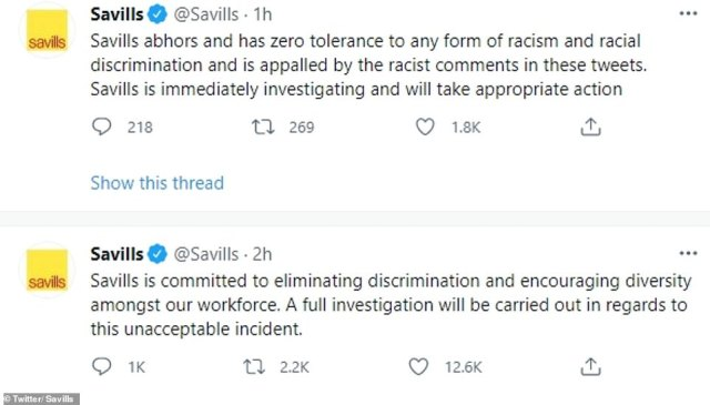 Estate agents Savills said it was investigating if a member of staff posted a vile tweet aimed at the England players