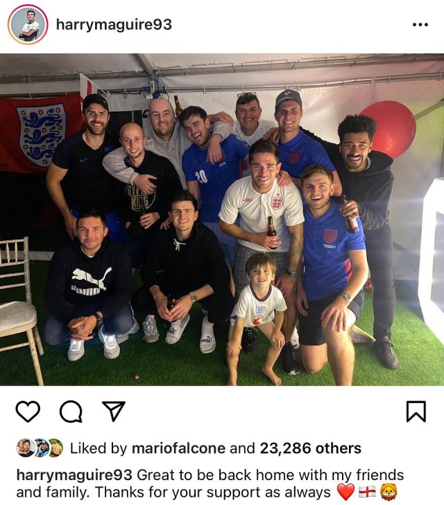 'Great to be back home': Harry Maguire's loved ones threw him a the lavish homecoming party as he returned from the England camp after the Euro 2020 final defeat