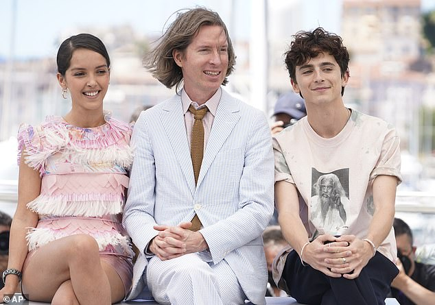 Absent: One of the film's stars Lea Seydoux, 36, has tested positive for Covid-19 forcing her to miss the premiere (pictured L-R, Lyna Khoudri, Wes and Timothée)