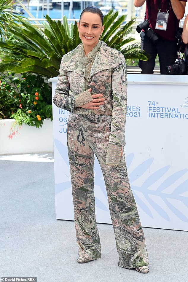 Chic: Meanwhile, Noomi Rapace attended a photocall for her film Lamb at the film festival on Wednesday