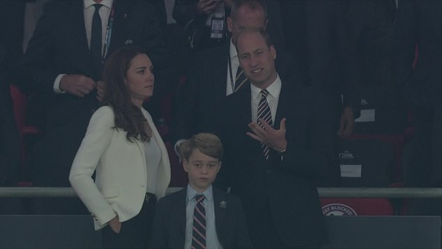 Prince William (right) attended the Euro2020 final with wife Kate Middleton (left) and their seven-year-old son Prince George (middle) where Italian fans claimed he left before the winners cup was awarded. The claims were disputed by Kensington Palace. Pictured: Dejected trio after England loss
