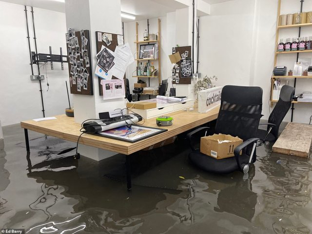 Ed Barry'sOver Under Coffee office in Ladbrook Grove was submerged in water after the flash floods hit last night
