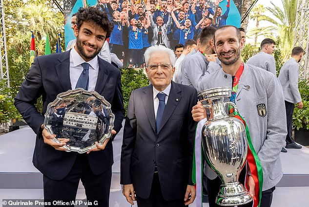 They also claim the Prince snubbed Italian President (pictured centre with Italy's defender Giorgio Chiellini right) by not congratulating him when his team won the penalty shoot out after a video was published in the Italian press - although they conceded they could not know if the Duke congratulated the President off camera or in private later that evening