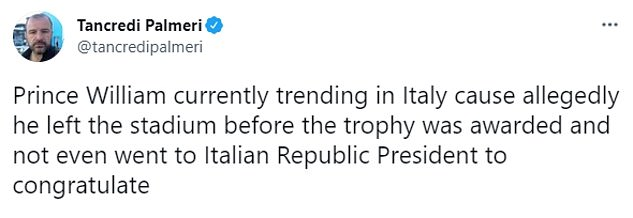 The consternation was so widespread, the Duke began trending on social media in Italy