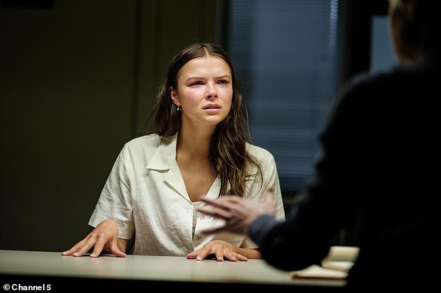 Becky (pictured) is pulled into a police interrogation room in the first scene. Does this mean she's the killer?