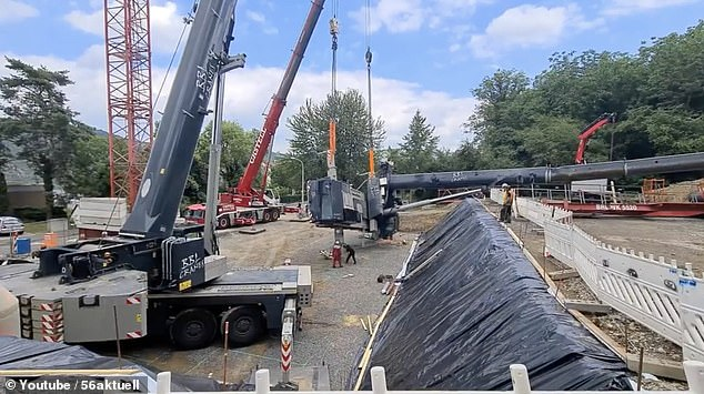 A pair of construction workers have cheated death after a crane dropped a 68-ton load onto their heads