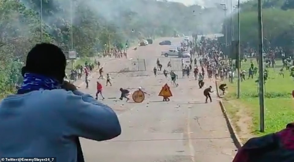 Video footage shared to Twitter on Monday showed people resorting to shooting at looters in a bid to protect their businesses as looting continues in the Gauteng and KwaZulu-Natal provinces