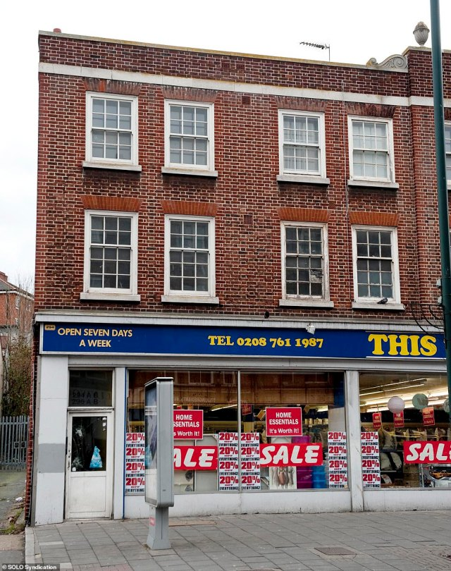 Where it all began:Her property ventures come worlds away from her humble beginnings when she was raised by her single mother Penny in a series of south London flats, including an abode above the This, That And The Other Discount Store in West Norwood (pictured)