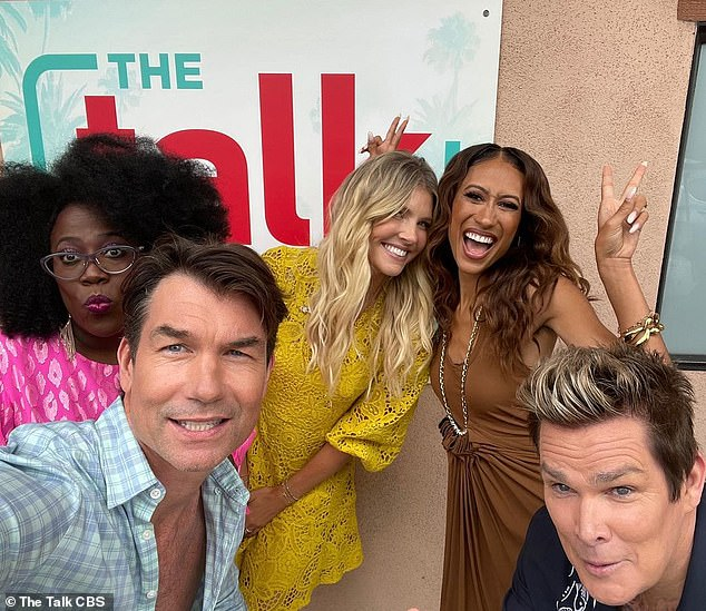 On Wednesday, CBS announced Jerry O'Connell was joining The Talk to replace Osbourne. He is seen above with co-stars Sheryl Underwood, Amanda Kloots and Elaine Welteroth, as well as Mark McGrath, far right