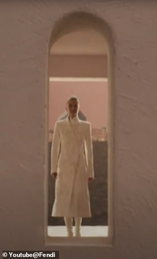 Superstar: She shared video of herself walking in the fashion show, which took place in a theater in Rome