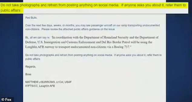 Carlson showed off an email sent by Lt Col Matthew Burrows, telling his subordinates what was happening