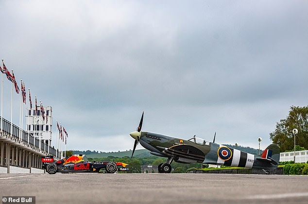 The Spitfire swooped over the Goodwood circuit but couldn't out-run Verstappen's car