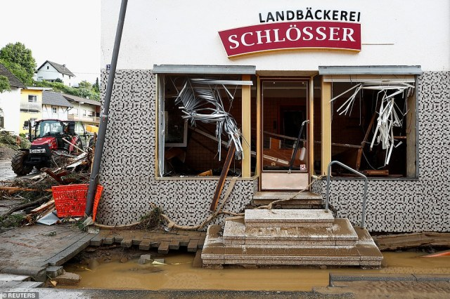 A destroyed building is seen at a flood-affected area following heavy rainfalls in Schuld, Germany