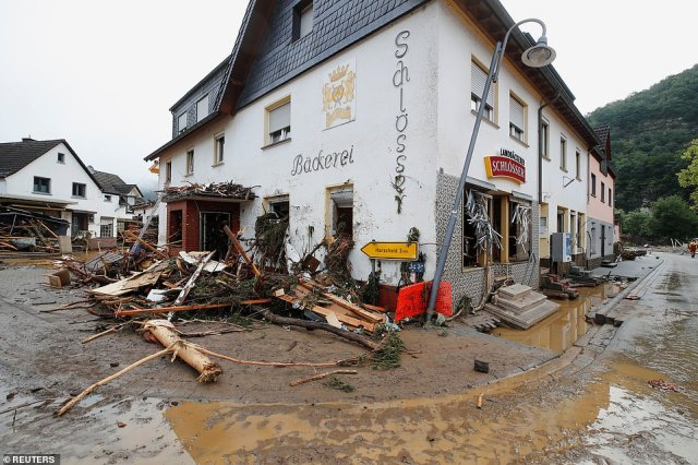 Debris brought by the flood new seen on the street following heavy rainfalls in Schuld, Germany