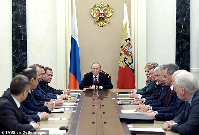 Putin holds a meeting with his security council on January 22, 2016, the date of the alleged discussions about helping Trump