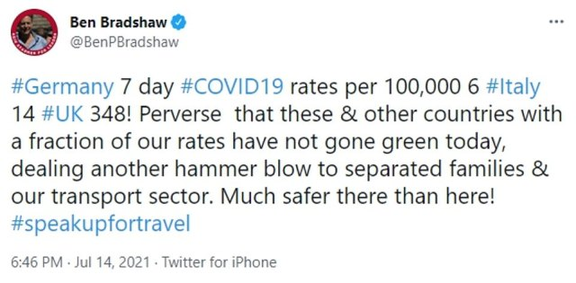 Labour MP Ben Bradshaw, who sits on the Transport Select Committee, criticised the Government for failing to move relatively low-risk countries such as Germany and Italy to the 'green list'