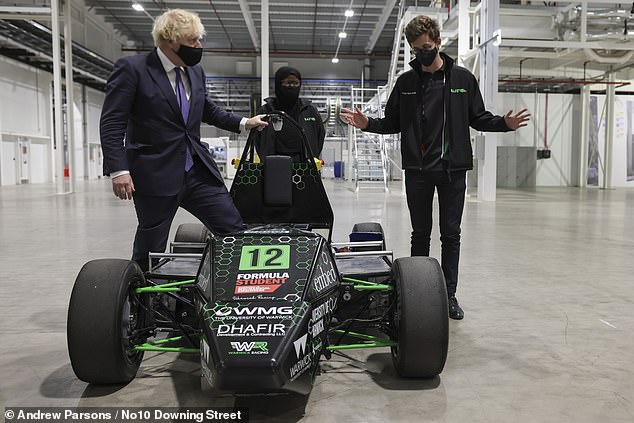 The PM was shown an electric racing car during his visit in Coventry today