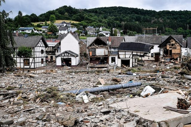 GERMANY:The village of Schuld in the district of Ahrweiler is destroyed after heavy flooding of the river Ahr