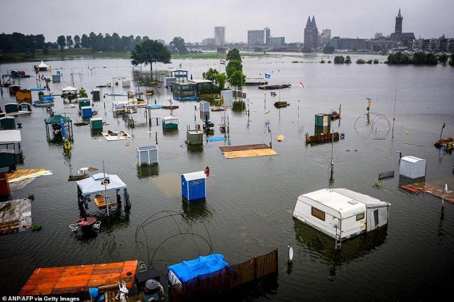 A campsite that flooded inRoermond, the Netherlands, after the Meuse river broke its banks overnight