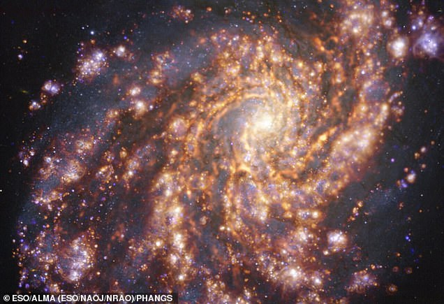 This image of the nearby galaxy NGC 4254 was obtained by combining observations taken with the Multi-Unit Spectroscopic Explorer (MUSE) on ESO's Very Large Telescope (VLT) and with the Atacama Large Millimeter/submillimeter Array (ALMA),