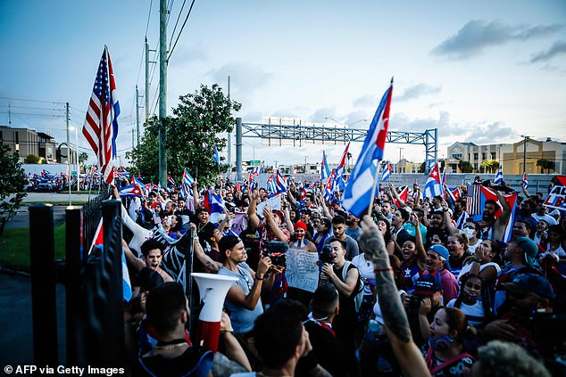 Crowds gathered for more protests in Hialeah, Florida on July 15 following unprecedented unrest in Cuba earlier this week