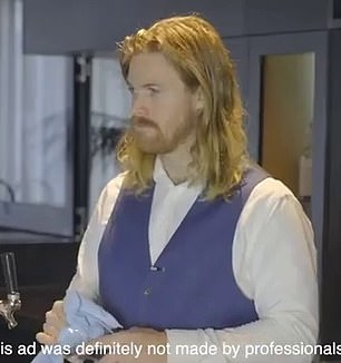 Same same! In a comedic clip Jimmy, who bears a striking resemblance to Thor actor Chris Hemsworth, plays a bartender