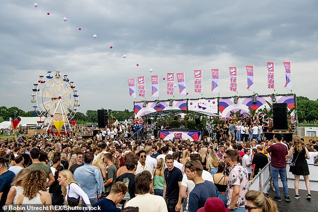 At least 1,000 people have been infected with Covid-19 after attending a 'coronavirus-free' Verknipt Outdoor Festival in Utrecht, Holland in early July (Pictured, the Chin Chin Festival in Amsterdam)