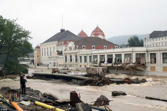 A view of debris and damaged buildings amid flooding in Bad Neuenahr-Ahrweiler, Germany