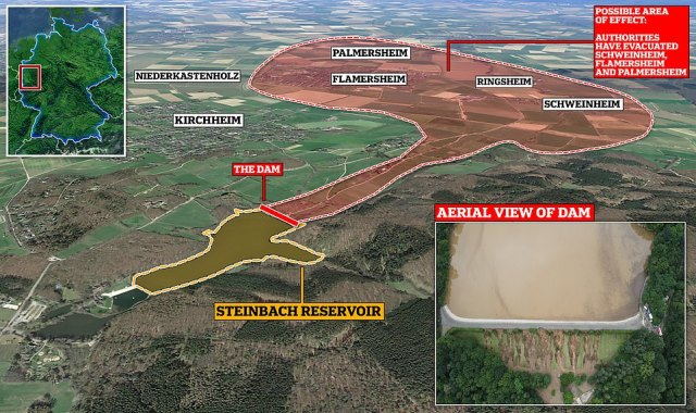 There are fears the crisis could worsen the a dam at the Steinbach reservoir (insert) on the verge of collapse due to the pressure of water behind it, as 4,500 people living in three villages below (top right) told to evacuate their homes