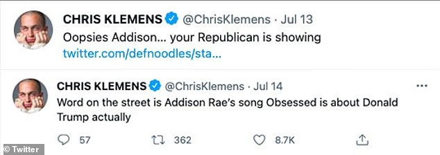 'Oopsies Addison¿ your Republican is showing': Comedian Chris Klemens had one of the most popular reactions on social media as he believed she had revealed her political affiliation