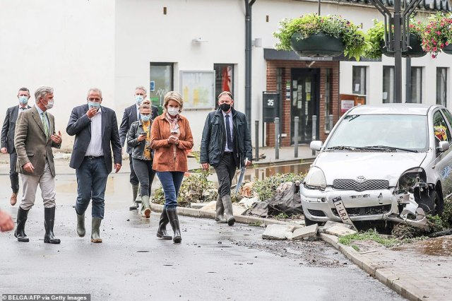 King Philippe and Queen Mathilde surveyed the damage caused by heavy rainfall and flooding in Pepinster, Beligum