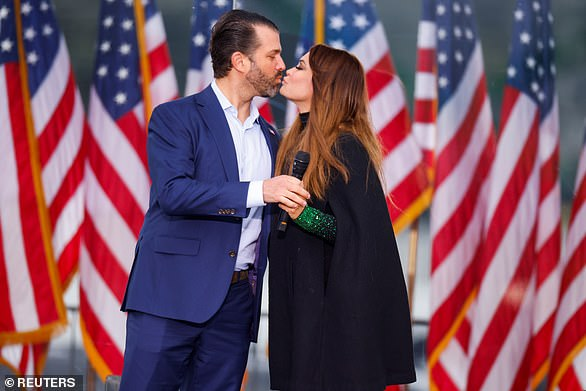 Don Jr. addressed the rally with his own expletive-laden speech, thanking attendees for 'being in this fight with us' and 'standing up to the bulls**t,' before taking aim at everyone from Democrats to transgender athletes