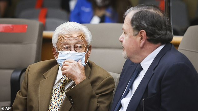 Paul's father, Ruben Flores, is pictured in court on July 14.  A former tenant claimed that Ruben would call Smart as a 'dirty slut'
