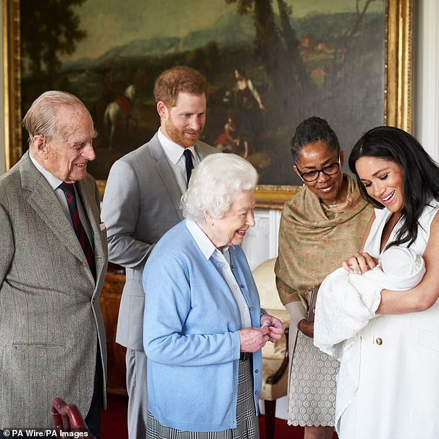 I hear that Prince Harry and Meghan want a royal christening for their baby, Lilibet, held in the presence of the Queen. Pictured: The Queen, Prince Philip and Meghan's mother Doria with baby Archie and his parents in 2019
