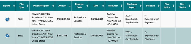 Documents filed Friday with the state Board of Elections reveal the New York governor paid lawyer Rita Glavin $111,774 on May 3 for 'professional services' and another $173,098 on June 2