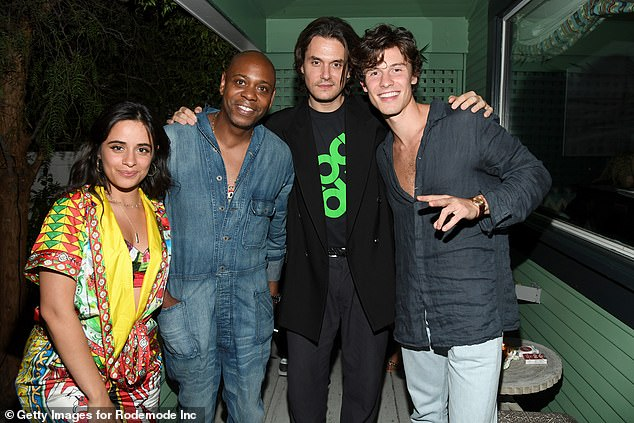 Good times: One day prior, Camila wowed in a colorful ensemble for John Mayer's listening party for his upcoming album Sob Roc; Camila pictured with Dave Chappelle, John and Shawn at San Vicente Bungalows in West Hollywood on Thursday